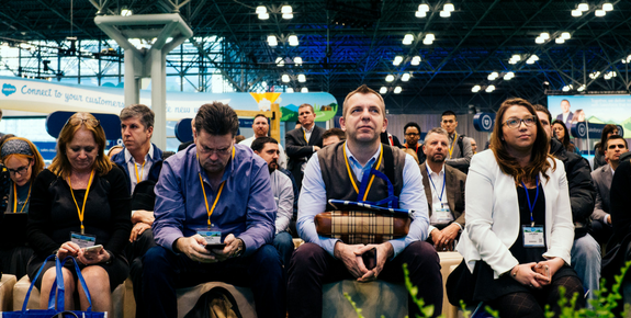 People attending talks at Salesforce World Tour NY 2016